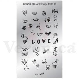 KONADSquarenailartsjablonen03'LOVE'