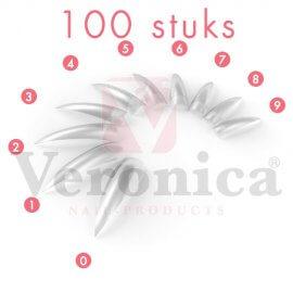 Stilettonageltips,CLEARmetbreedopzetstuk,100stuks