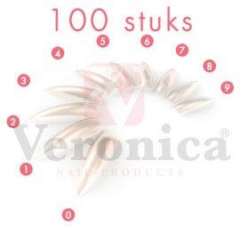 Stilettonageltips,NATURALmetopzetstuk,100stuks
