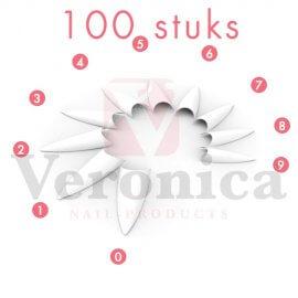 Stilettotips,WITzonderopzetstuk,100stuks